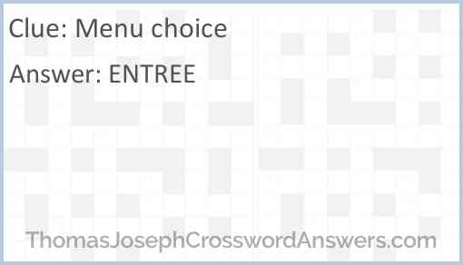 Menu choice Answer