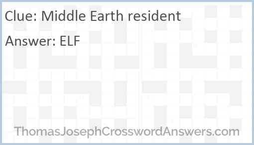Middle Earth resident Answer