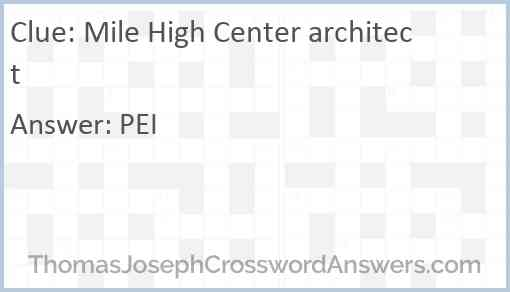 Mile High Center architect Answer