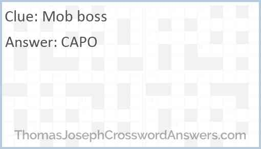 Mob boss Answer