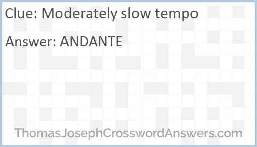 Moderately slow tempo Answer