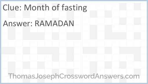 Month of fasting Answer