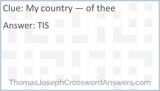 My country — of thee Answer