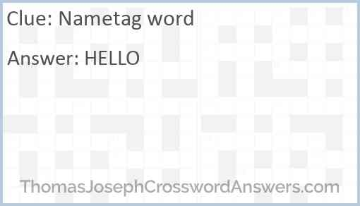Nametag word Answer