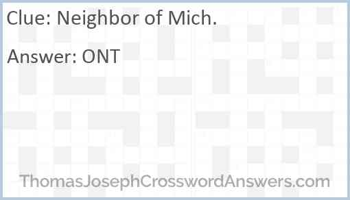 Neighbor of Mich. Answer