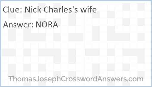 Nick Charles's wife Answer