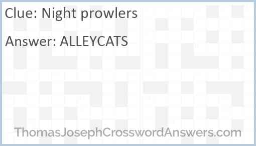 Night prowlers Answer