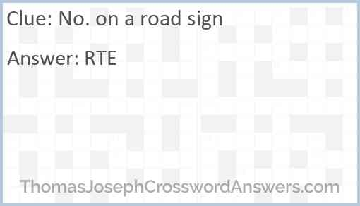 No. on a road sign Answer