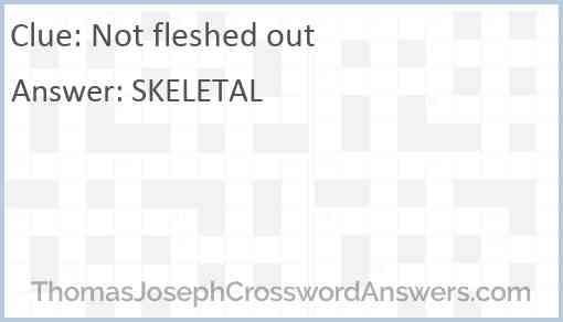 Not fleshed out Answer