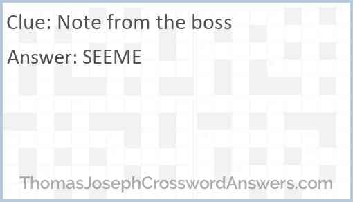Note from the boss Answer