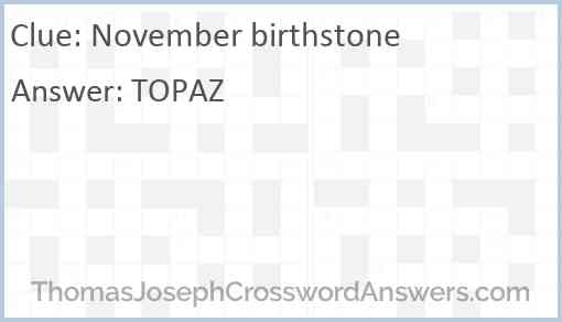 November birthstone Answer