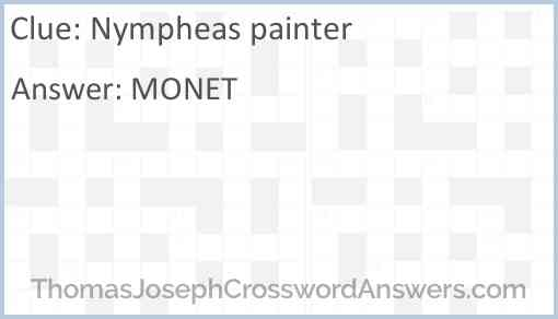 Nympheas painter Answer