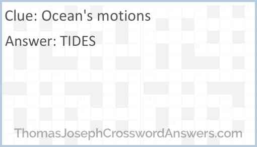 Ocean's motions Answer