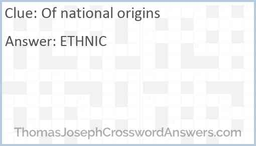 Of national origins Answer