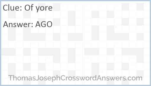 Of yore Answer