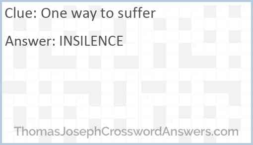One way to suffer Answer