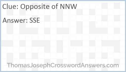 Opposite of NNW Answer