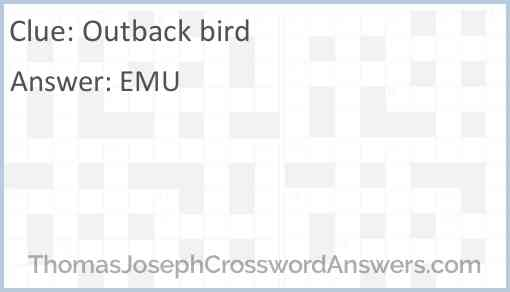 Outback bird Answer