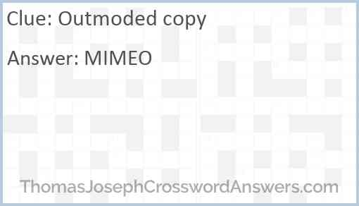 Outmoded copy Answer