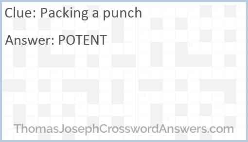 Packing a punch Answer