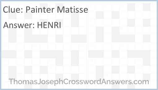 Painter Matisse Answer