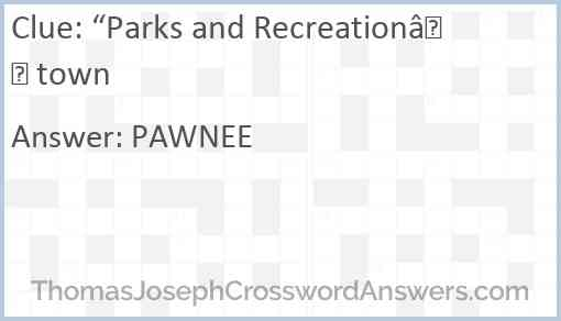 """""""Parks and Recreation"""" town Answer"""