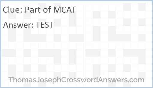 Part of MCAT Answer