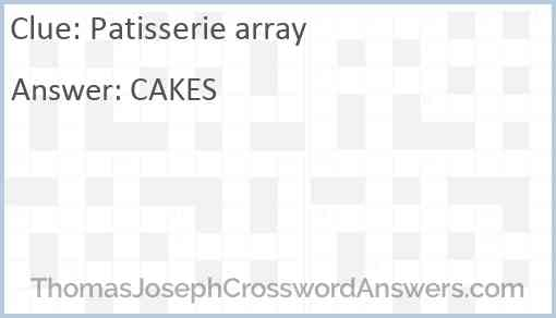 Patisserie array Answer