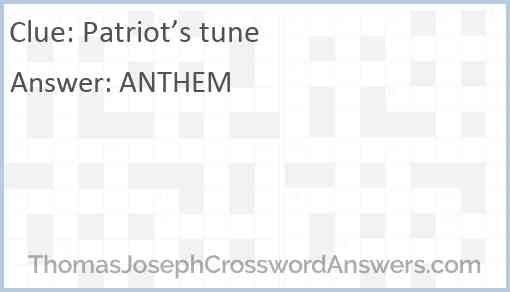 Patriot's tune Answer