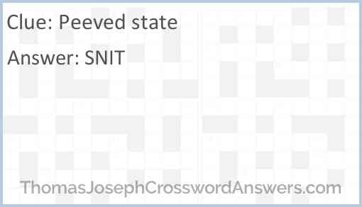 Peeved state Answer