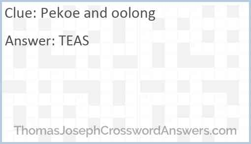 Pekoe and oolong Answer