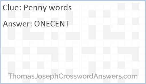 Penny words Answer