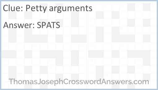 Petty arguments Answer