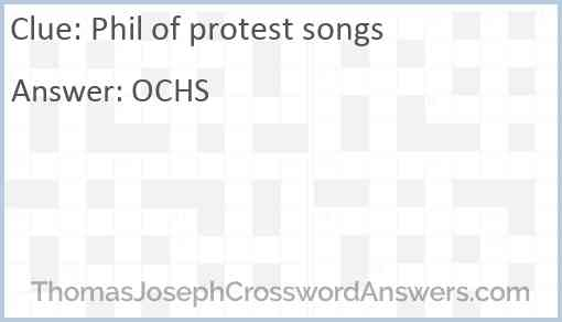 Phil of protest songs Answer
