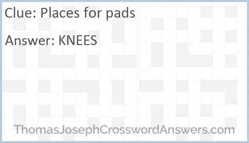 Places for pads Answer