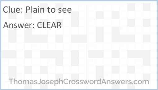 Plain to see Answer