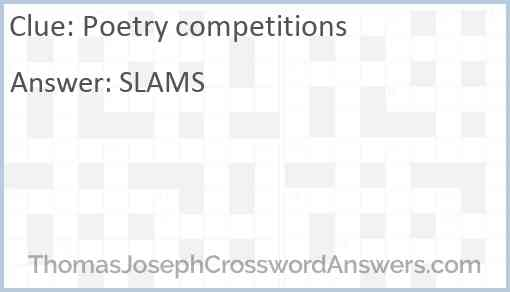 Poetry competitions Answer