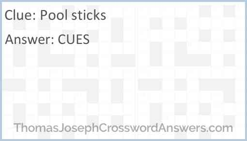 Pool sticks Answer