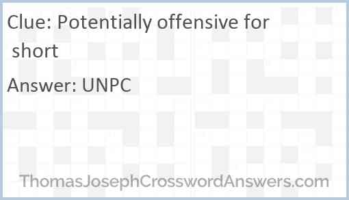 Potentially offensive for short Answer