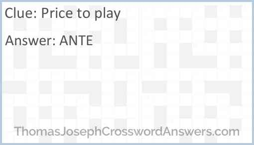 Price to play Answer