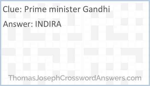 Prime minister Gandhi Answer