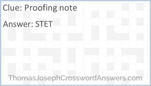 Proofing note Answer