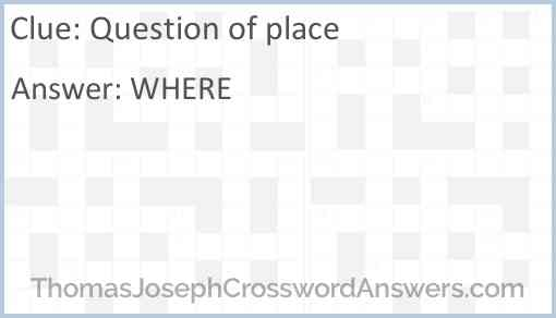Question of place Answer