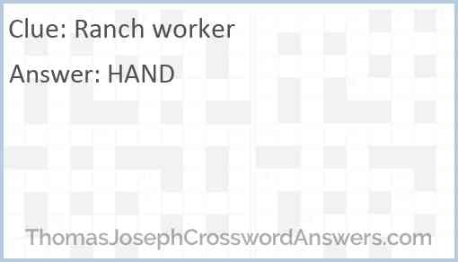 Ranch worker Answer