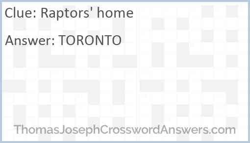 Raptors' home Answer