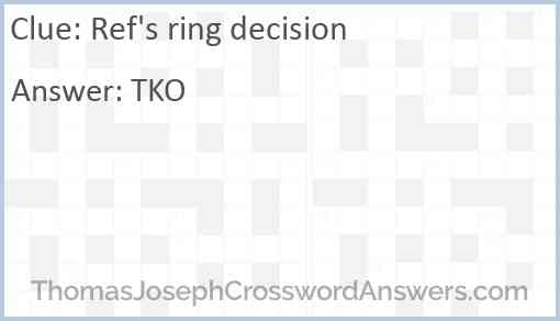 Ref's ring decision Answer