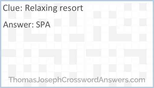 Relaxing resort Answer