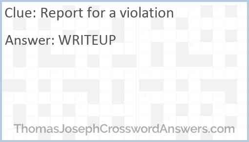 Report for a violation Answer