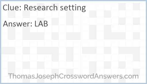 Research setting Answer