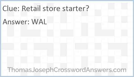 Retail store starter? Answer